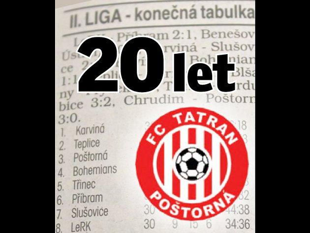 Letos v létě uplyne 20 let od okamžiku, kdy se v konečné tabulce druhé fotbalové ligy vyhříval Tatran Poštorná na třetím místě a dokonce měl možnost postoupit do nejvyšší soutěže. Připomeňte si hráče, kteří tehdy v Poštorné hráli. Ilustrační logo.