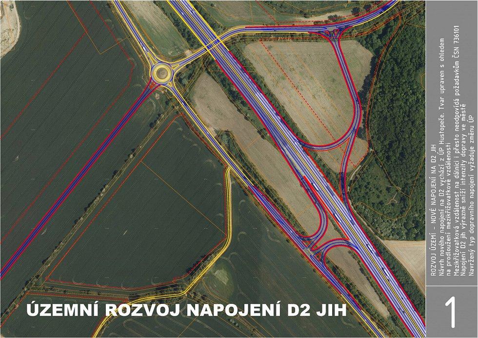 Studie několika dopravních služeb s naznačením možností pro případný sjezd a nájezd na dálnici D2 za Hustopečemi.
