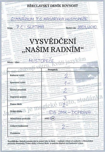 Studenti břeclavského ihustopečského gymnázia si hodnocení radních užívali. Do vysvědčení napsali, co si ojednotlivých tématech skutečně myslí.