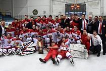 Ruská radost. Vítězem letošního ročníku juniorského turnaje Hlinka Gretzky Cup se stali hokejisté Ruska, kteří ve finále zdolali Kanadu.