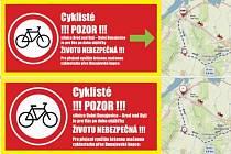 Plachtami chtějí Dolnodunajovičtí nově upozornit cyklisty na nebezpečnou silnici z obce do sousedního Brodu nad Dyjí.