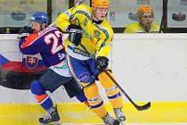 Břeclavští hokejisté (ve žlutém) doma prohráli, nakonec ale slavili postup do play off.