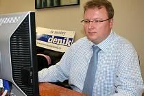 Lídr kandidátky Perspektiva pro Břeclav Pavel Rouček při online rozhovoru.