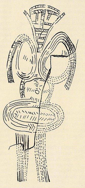 Geometrická rytina na mamutím klu z Předmostí u Přerova