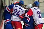 Česká reprezentace (v bíločerveném) podlehla v utkání o páté místo v Břeclavi výběru USA 4:6.