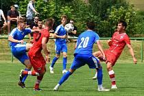 Líšeň (v červeném) na závěr přípravy zdolala béčko Baníku Ostrava 2:1.