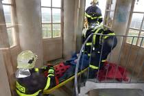 Hasiči na začátku týdne zachraňovali dvojici návštěvníků lednického minaretu. Šlo o prověřovací cvičení.