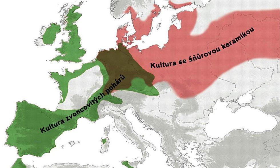Rozsah lidu se šňůrovou keramikou a se zvoncovitými poháry v Evropě.