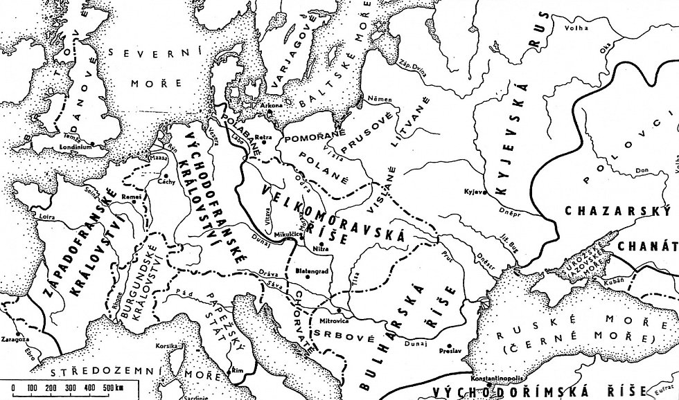Rozsah velkomoravské říše v devátém století (podle: Podborský 1993: Dějiny pravěku a rané doby dějinné).