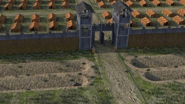 Hypotetická rekonstrukce opevnění tábora římské armády