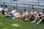 Břeclavští fotbalisté (ve žlutém) jsou střelecky při chuti. Spartě Brno dali sedm branek.