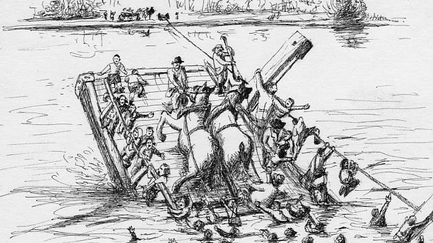 Kresba zachycující rakvickou tragédii z roku 1936.