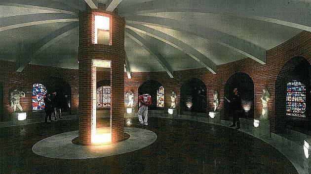 Plán podzemní rotundy pod bývalým zámečkem ve Velkých Pavlovicích.