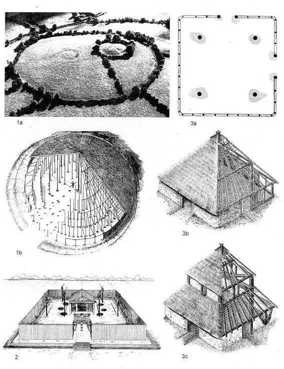 Hypotetické rekonstrukce keltských sakrálních staveb z Evropy (podle Podborský 2006: Náboženství pravěkých Evropanů).