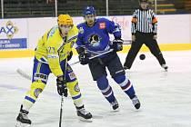 Hokejisté břeclavských Lvů (ve žlutém) podlehli na severu Moravy Orlové.