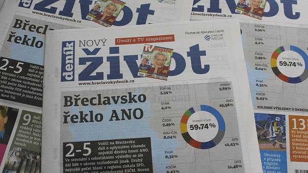 Týdeník Nový život vychází na Břeclavsku každý čtvrtek. Nyní v nové atraktivnější podobě s vyšším počtem stran. Ilustrační foto.