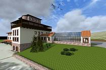 Vizualizace Šlechtitelské stanice vinařské ve Velkých Pavlovicích přestavěné na moderní vinařské centrum.