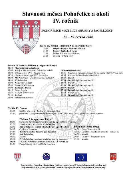 Program slavností města Pohořelice.