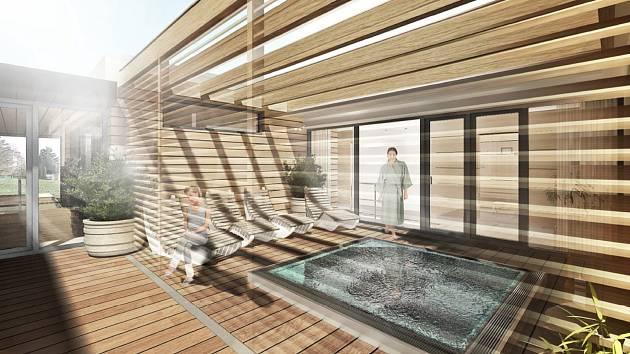 Saunový svět postaví v Břeclavi v areálu koupaliště. Vizualizace.