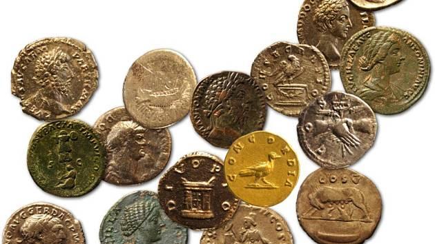 Výběr římských mincí z Hradiska u Mušova (podle: archiv AÚ AV ČR Brno).