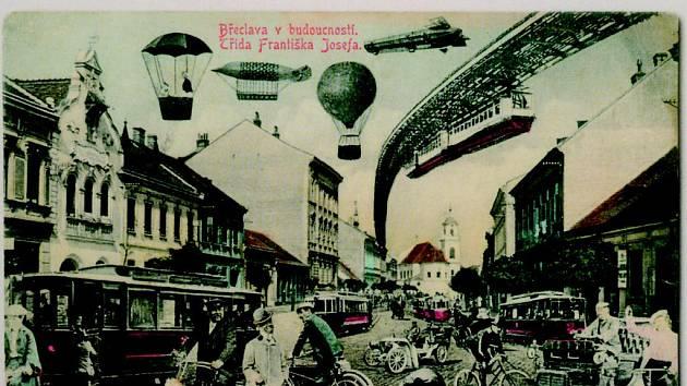 Pohlednice z titulní strany knihy Historické pohlednice břeclavského regionu od vydavatele Zdeňka Filípka.