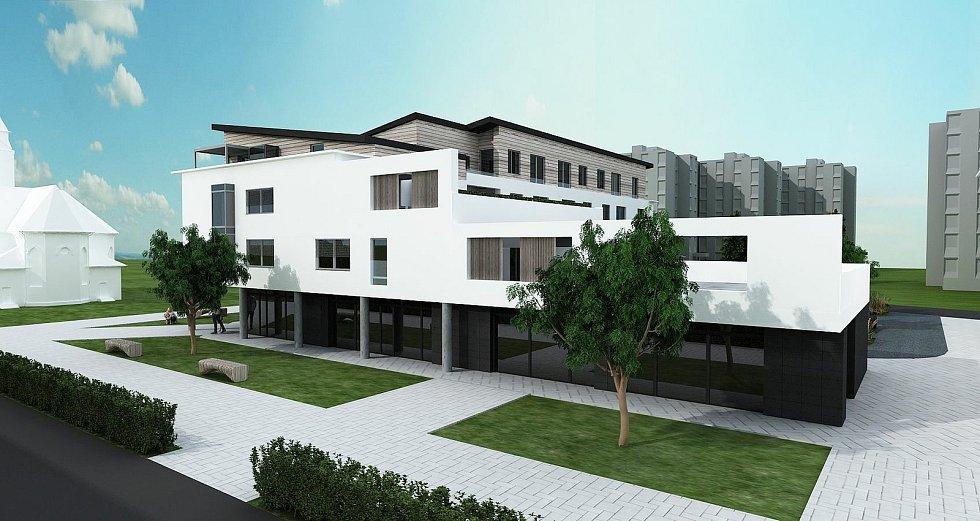 Třetí nejlidnatější kraj v republice je ten Jihomoravský. Na snímku první z trojice polyfunkčních domů na městské tržnici ve Veselí nad Moravou.
