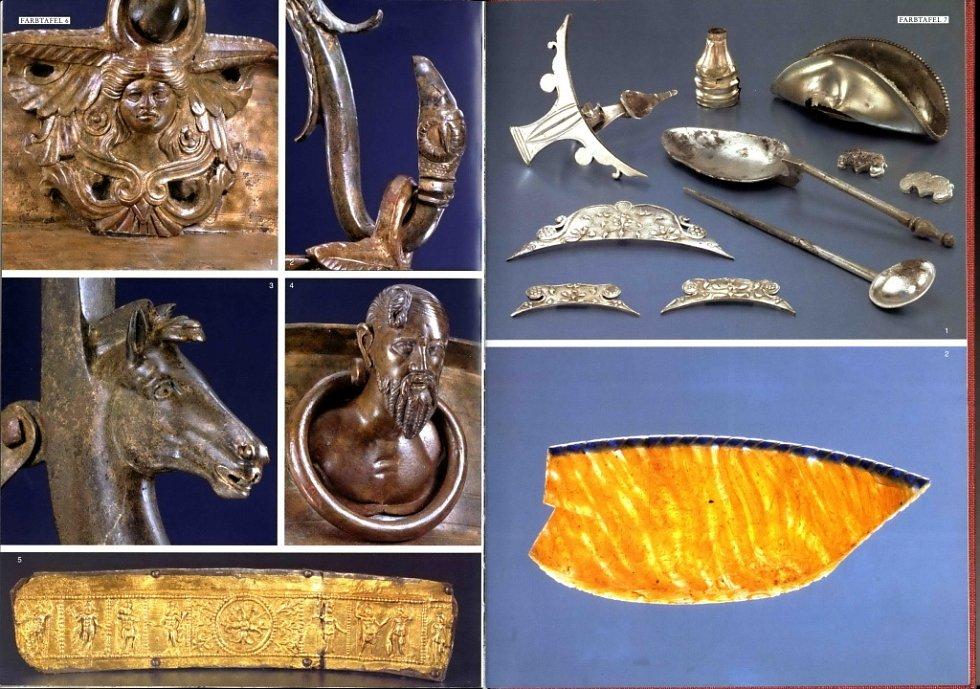 Výběr předmětů z římských dílen nalezených v knížecí hrobce u Mušova.