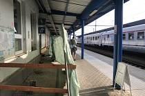 Opravy výpravní budovy na železničním nádraží v Břeclavi.