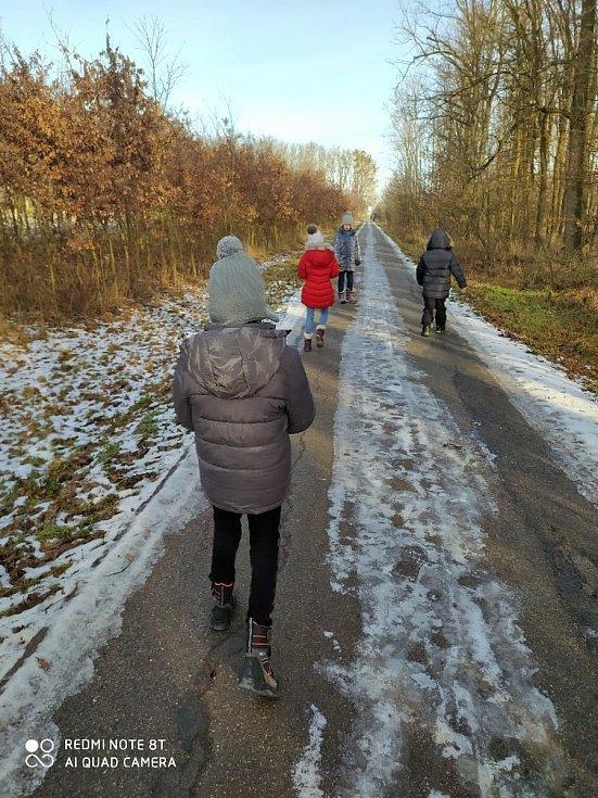 Čtvrťáci se svou třídní učitelkoui vyrazili do lesa. FOTO: Archiv školy