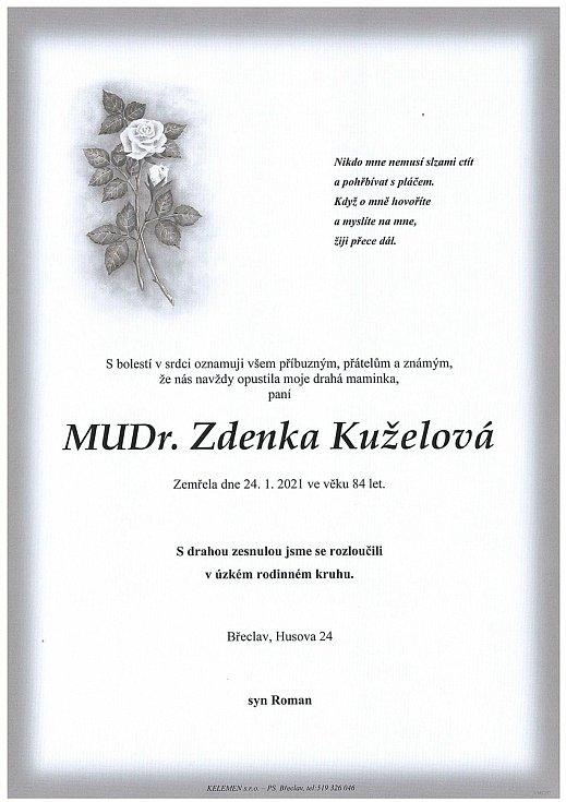 Zemřela dětská lékařka Zdeňka Kuželová.