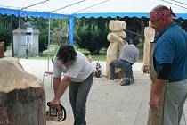 Čtyři břeclavští umělci vyřezávají z topolového dřeva sochy. V sobotu je vydraží a ukončí tak druhý ročník dřevosochání v Břeclavi.