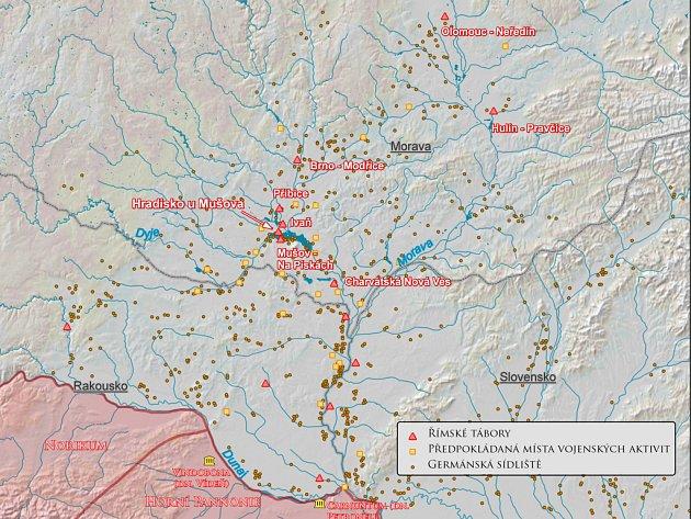 Tábory římské armády na území Moravy (snázvem lokality) a Dolního Rakouska.