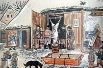 Sobotní zahájení výstavy kreseb Josefa Lady ve velkopavlovickém ekocentru doprovázela i zabijačka.