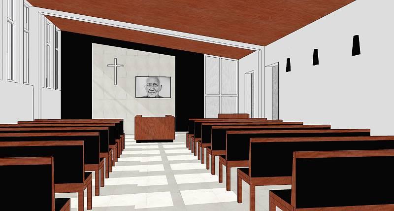 Vizualizace interiérů smuteční síně.