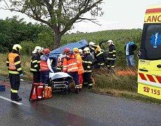Nehoda u Jevišovky. Dodávka narazila do stromu.