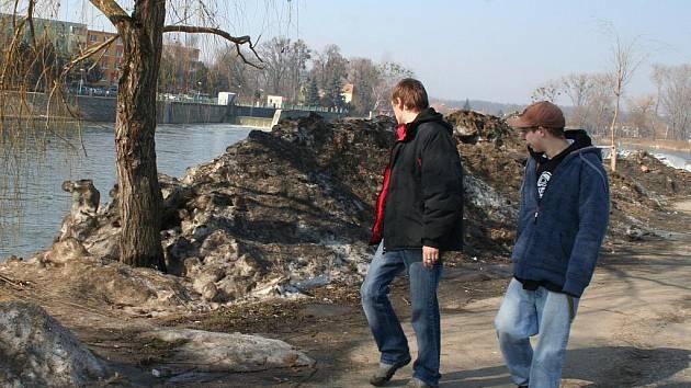 Nepořádek na břehu Dyje v Břeclavi.