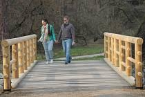 Návštěvníci lednického zámeckého parku se již prochází po některých opravených mostech. Stavbaři jich zrekonstruovali šest, práce jsou před dokončením. U zříceniny Janohrad navíc vyrostl v březnu nový most přes Starou Dyji.
