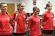 Stolní tenistky MSK Břeclav B – zleva Dagmar Kubinová, Veronika Tušlová, Nikol Cerovská a Magdaléna Šubíková.