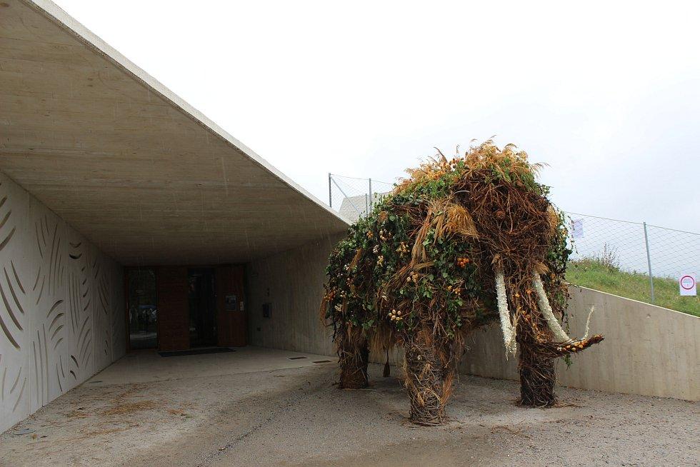 U vstupu do Archeoparku Pavlov stojí květinový mamut.