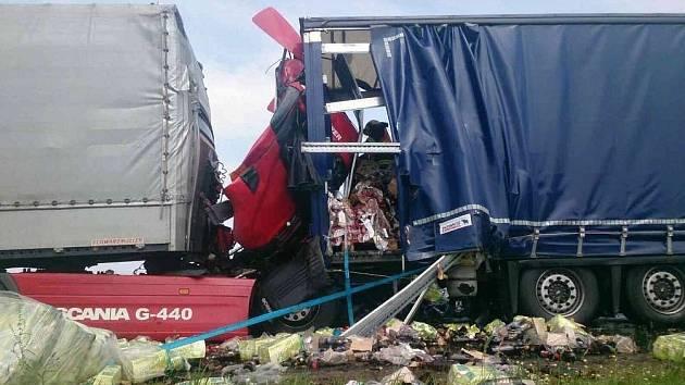 Nehoda dvou kamionů ve čtvrtek odpoledne uzavřela dálnici D2 mezi Podivínem a Břeclaví. Ve zcela zdemolované kabině jednoho z nákladních aut zemřel řidič.