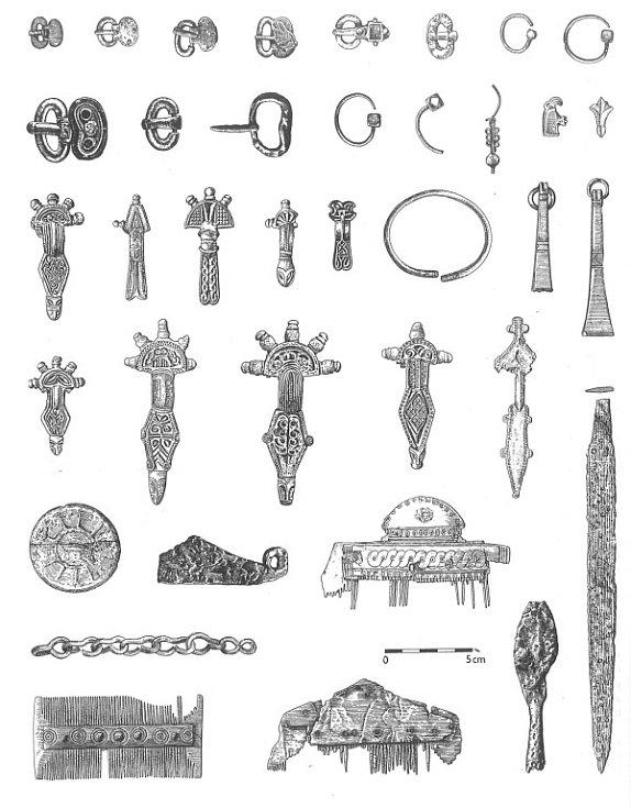 Výběr nálezů z kostrových pohřebišť druhé poloviny pátého století (podle: Podborský 1993: Pravěké dějiny Moravy).