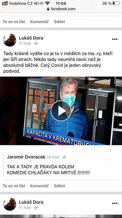 Příspěvky místostarosty Lednice Lukáše Dory na sociální síti Facebook.