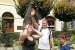 Lidé se v Mikulově na Náměstí osvěží z mlžítka.