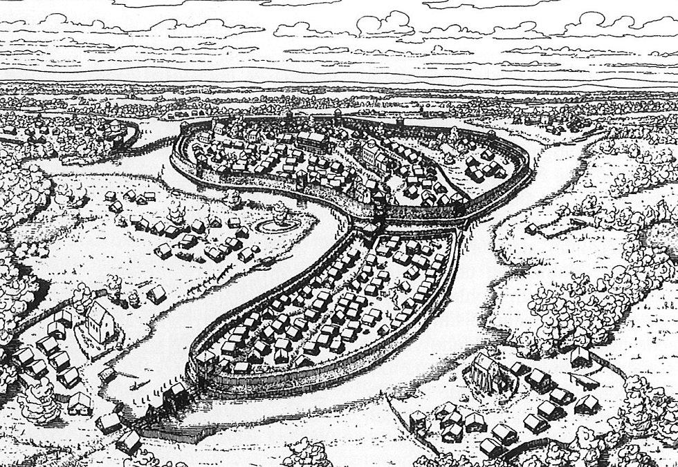 Rekonstrukce vzhledu velkomoravského centrálního hradiska u Mikulčič (podle: Galuška 2004: Slované-Doteky předků. Brno).