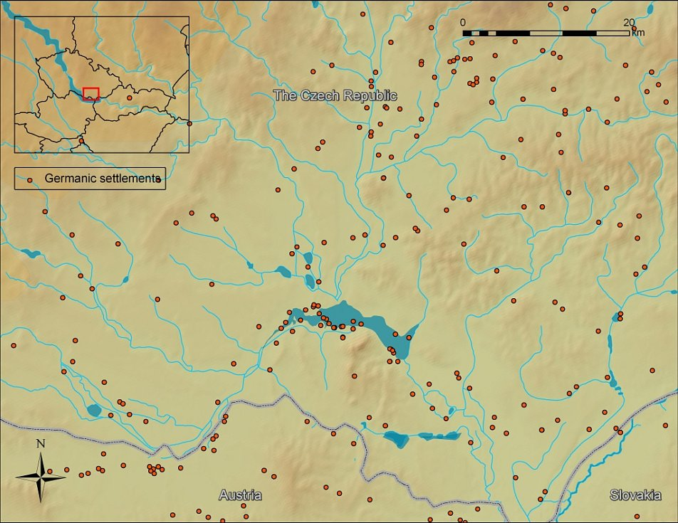 ¨Germánská sídliště (červené tečky na mapě) doby římské na území Břeclavska.