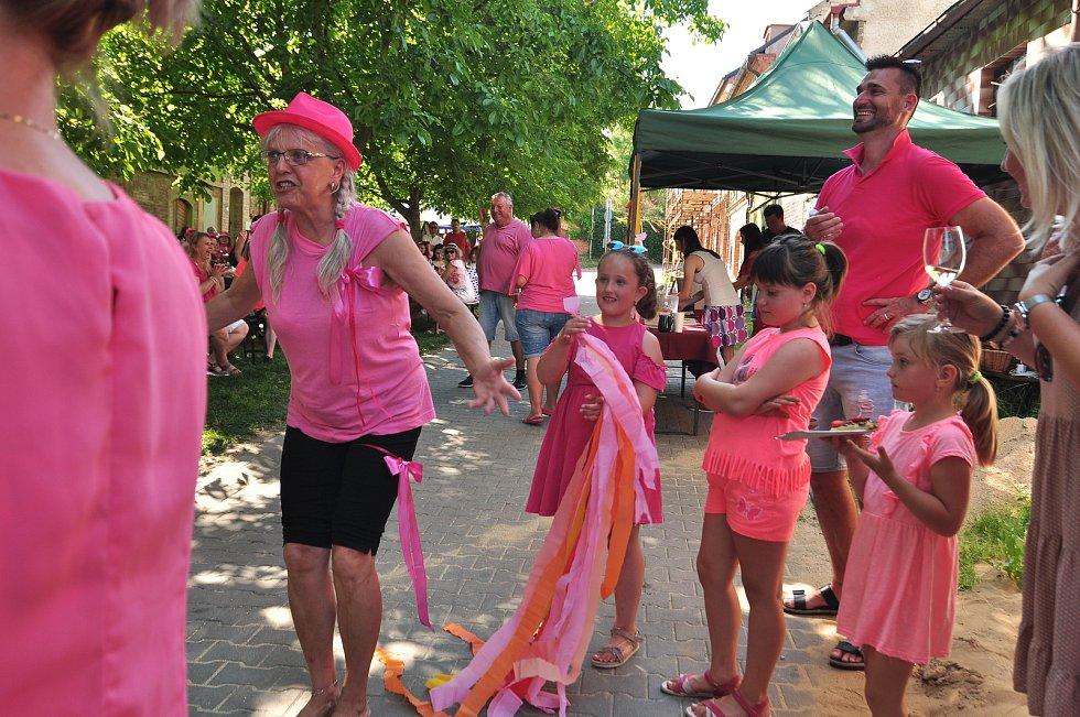 Moravská v růžovém, na akci spolku Vinaříček z Moravské Nové Vsi se do růžové oblékli muži, včetně výrazných náušnic a brýlí.