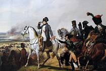Napoleon Bonaparte vede své vojsko do bitvy u Wagramu.