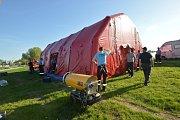 Dobrovolní hasiči cvičili zásahy u povodní. Příprava se uskutečnila na břehu horní nádrže Nové Mlýny v katastru Pasohlávek. Foto: hasiči JMK