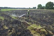 Břeclavští hasiči v pondělí pomohli rakouským kolegům s likvidací požáru trávy.