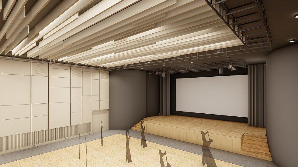 Náhled kinosálu v Pohořelicích po plánované rekonstrukci. Vizualizace.